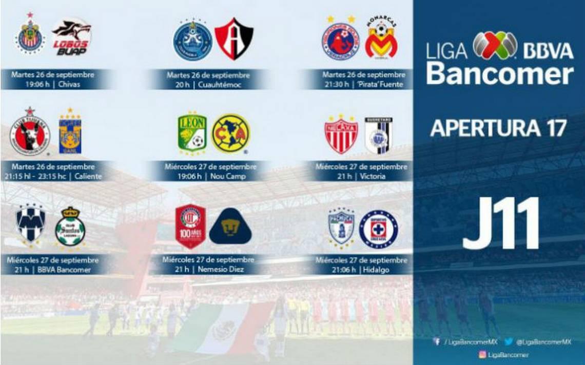 Liga Bancomer MX define horarios para partidos de la jornada 11 - El ...