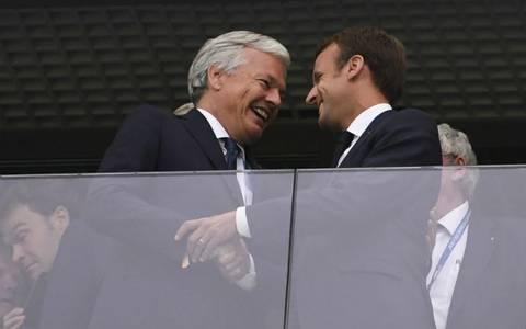 El presidente de Francia, Emmanuel Macron también estaba en la tribuna   Foto: AFP