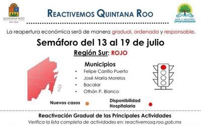 Quintana Roo regresa a semáforo rojo incremento de casos COVID-19